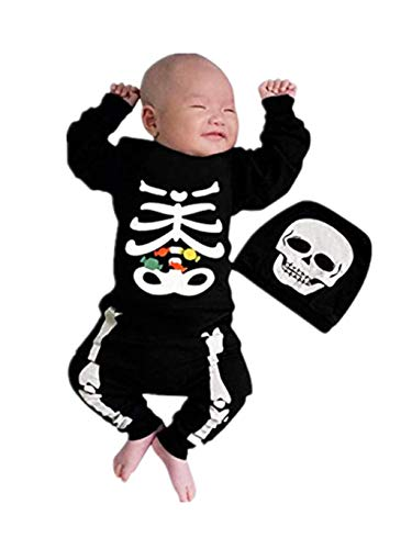 SUMTTER Halloween Strampler Baby Jungen Mädchen Cosplay Kostüm Langen Ärmeln Skull Print Spielanzug Infant Overall Kinder (Strampler + Hut Outfits) (Einzigartige Kleinkind-halloween-kostüme 2019)
