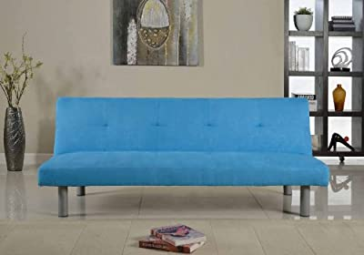 Faux Suede 3 Seater Quality Sofa Bed - Click Clac fabric sofabed in BLUE