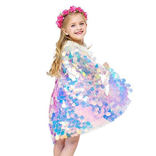 HELING Kinder Pailletten Umhang, Meerjungfrau Umhang, Prinzessin Kostüm Robe Outwear, süße Mädchen Meerjungfrau Pailletten - Rosa Meerjungfrau Cape Kostüm