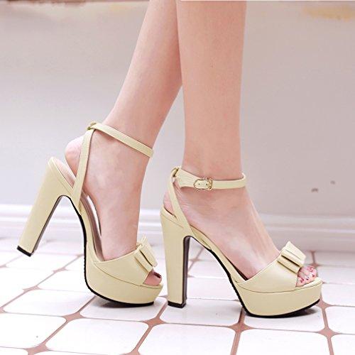 YE Damen Peep Toe Knöchelriemchen Blockabsatz High Heel plateau sandalen mit Schleife und Schnalle Pumps Schuhe Beige