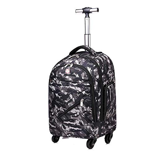 uhuihio Double Shoulder Pull Rod Bookbag Universal Wheel Pull Rod Double Shoulder Backpack Business Travel Bag Pull Rod Bag 18 Zoll/Camouflage Black -