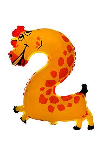 Partygram Globo de Cumpleaños Infantil, Jirafa, Número 2, Multicolor (PG00475-02)