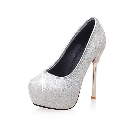 Adee Mesdames paillettes Paillettes Respiration Pompes Chaussures Blanc - blanc