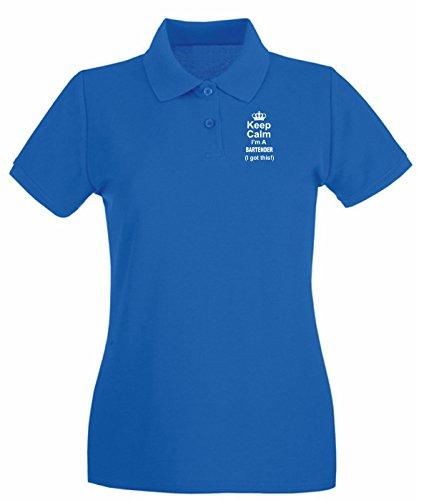 T-Shirtshock - Polo pour femme BEER0249 Keep Calm I m A Bartender I Got This Bleu Royal