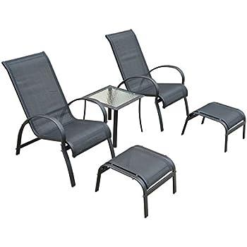 Salon de jardin textilene bain de soleil chaise longue x 2 + ...