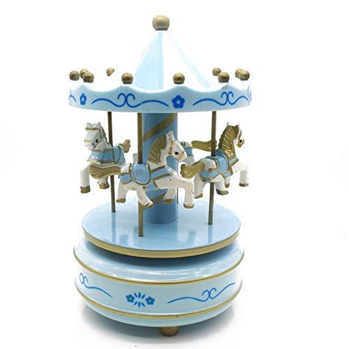 DDG EDMMS Holz Karussell-Musik-Box 4 Pferde Rotating Music Box Geburtstag Valentinstag Weihnachten Kind-Geschenk-Spielzeug-Blau Weihnachtsdekoration -