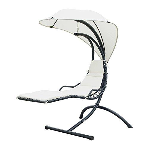 Outsunny Outdoor Garten Terrasse Hollywoodschaukel Hubschrauber Sonnenliege Stuhl, Sitz Relaxer mit Kissen Vordach, schwarz (Patio Hollywoodschaukel Stuhl)