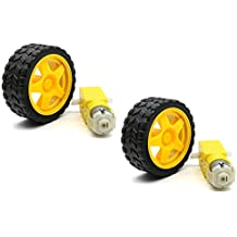 SunRobotics 2 Set Smart Car Robot Wheel Plastic Tire With Deceleration DC 3-6V Drive BO Gear Motor For Arduino