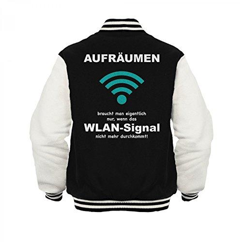 Fashionalarm Herren College Jacke - Aufräumen, wenn das WLAN-Signal nicht durchkommt | Varsity Baseball Jacket | Sweatjacke Geschenk Idee Putzmuffel Schwarz / Weiß