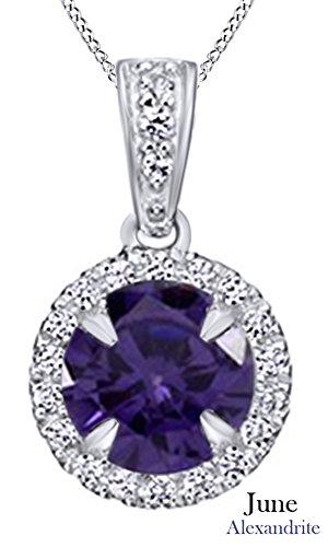 AFFY Hombre Unisex Mujer  Plata de ley (925/1000)  Plata chapada en oro blanco de 18 K round shape   violeta circonita alejandrita