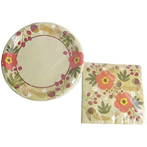 Autumn Blossom Decorative Paper Plates & Napkin Set (18 - 9 In. Dinner Plates and 18 - 13 In. Napkins) by Fall Autumn Harvest