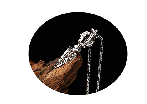 Epinki argento 925 donna uomo collana vajra ciondolo buddismo uomo collana argento nero-a19