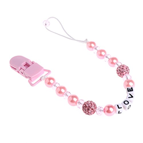 1bb08da312c2d Lunji Mignon Attache Sucette Bebe Bling Cristal Attache Tetine (Rose)