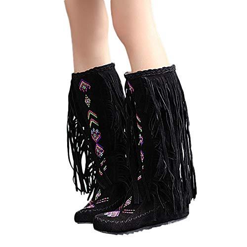 TianWlio Stiefel Damen Mode Nation Style Frauen Fringe Flache Absätze Lange Stiefel Winter Kniehohe Stiefel Black 43