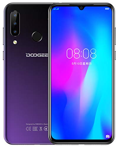 DOOGEE N20 2019 Android 9.0 Smartphone ohne Vertrag, Octa-Core 4GB RAM 64GB ROM, Handy 4G LTE Dual SIM 6,3 Zoll FHD+Full Screen, 16 MP+8 MP+8 MP+16 MP Kamera, 4350 mAh Face ID Fingerabdruck, Lila