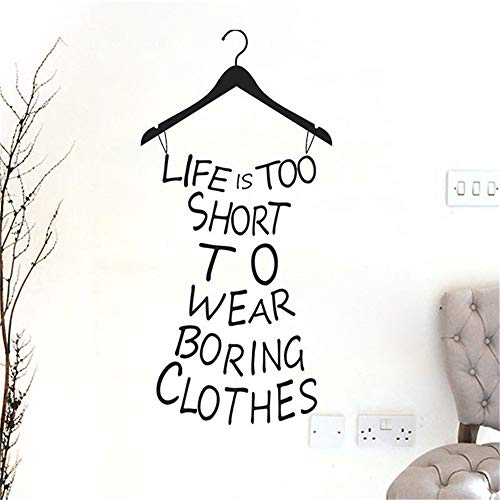 wandaufkleber blumenranke Mädchen Wandtattoo Leben ist zu kurz, um langweilige Kleidung für Mädchen Zimmer zu tragen