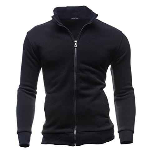 YunYoud Herren Jacken Herbst Winter Mantel Freizeit Sport Jacke Mode Reißverschluss Sweatshirts Einfarbig Lange Ärmel Outwear Tops (L, Schwarz) (Band Double Breasted)