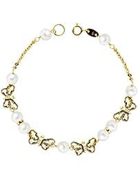 Pulsera oro 18K Mariposas y perlas - 1ª comunión niña