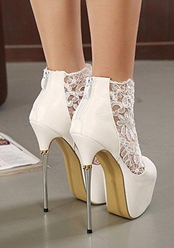 Aisun Damen PeepToe High Heels Plateau Spitze Pumps Stiefel Weiß