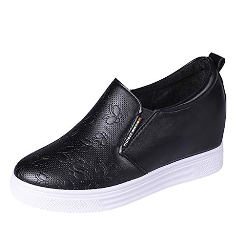 LANSKRLSP Mocassini Donna in Pelle Moda Comode Loafers Scarpe da Guida Ginnastica Estivi Basse Platform Sneakers Nero Bianco 35-43