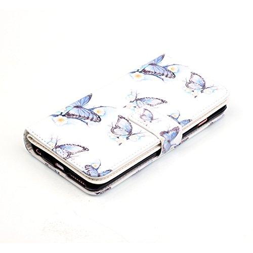 Coque Etui pour iPhone 6, iPhone 6S Portefeuille Cuir Coque Housse, iPhone 6S PU Leather Case Wallet Cover Flip Coque, Cozy Hut Protecteur Housse de Protection Étui Coque Flip PU Cuir Folio portefeuil blue Butterfly