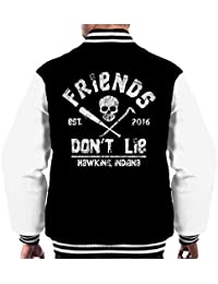 Cloud City 7 Friends Dont Lie Goonies Stranger Things Men s Varsity Jacket 8a4322237bb