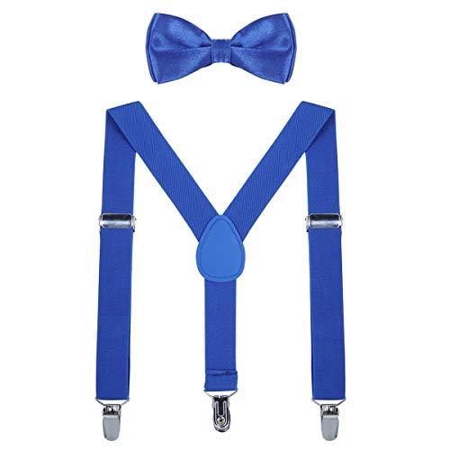 AWAYTR Kinder Hosenträger Krawatte Set -Einstellbar Länge 2.54cm Straps Mit Bogen Krawatte Set Für Jungen und Mädchen (Königsblau)