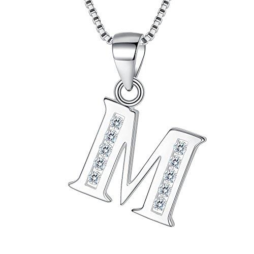 """Clearine Halskette Damen 925 Sterling Silber CZ 26 Buchstabe Alphabet Personalisiert A biz Z Anhänger Hals-Schmuck""""M"""""""