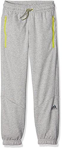 adidas Jungen Training Hose, Medium Grey Heather/Shock Slime, 128