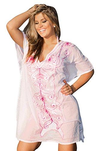 Capri-baumwoll-leibchen (La Leela 100% Baumwolle leichten ethnischen gestickten Frauen plus Größe Badebekleidung Badeanzug lässig Badeanzug 4 in 1 Strand-Bikini-Vertuschung Tunika Lounge basic Kleid rosa)