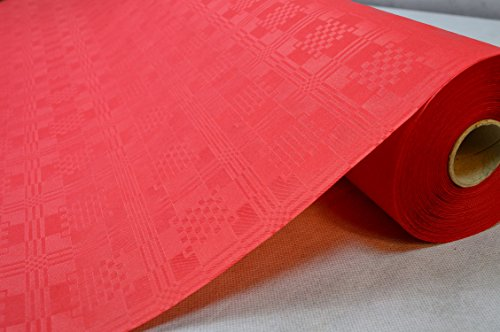Breit Farbe: Rot Tischdecke Papier Damastprägung Tischtuch Papierttischdecke Decke Rolle Papiertischdeckenrolle Papierdecke (Rotes Papier Tischdecken)