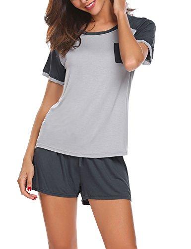 HOTOUCH Damen Schlafanzug Pyjama Shorty Mit Shorts & Shirt Nachtwäsche Kurzarm Sleepwear Schwarz/Blau/Lila/Rot/Grau(S-XXL) Grau
