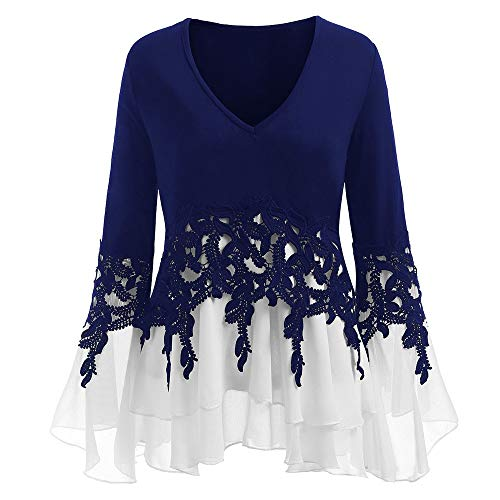 MORCHAN  Champion Mode Femmes Casual Applique Flowy en Mousseline de Soie col V Tops Manches Longues Chemisier(X-Large,Bleu)