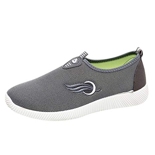 Elle Stricken Kleid (Fenverk Damen Stricken Sneaker Sportschuhe Leichte Atmungsaktive Turnschuhe Slip-On Walking Schuhe Socks Socken Outdoor Freizeit Slip On Bequeme Sohlen Sports Atmungsaktiv Mesh(Grau-B,37 EU))
