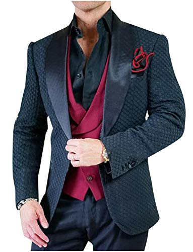 UMISS Herren Dreiteiliger Anzug für Waffel Erhältlich in Dunkelblau oder Weißem Smoking