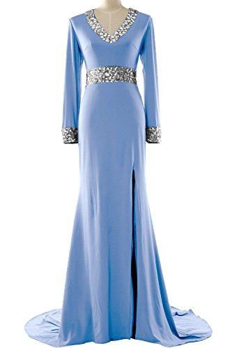 MACloth - Robe - Moulante - Manches Longues - Femme Bleu - Bleu ciel