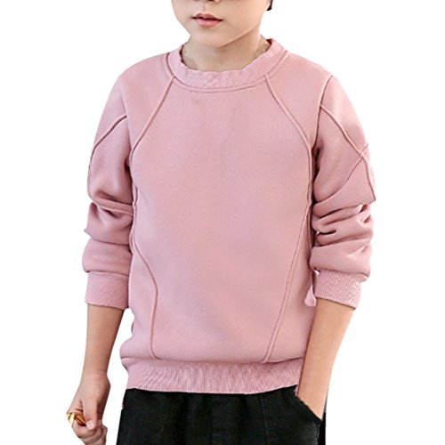 Zhhlinyuan Kids Jungen Fashion Simple Long Sleeve Fleece Pullover Solid color Crewneck Sweatshirt Tops 3 Color (Crewneck Solid Pullover)