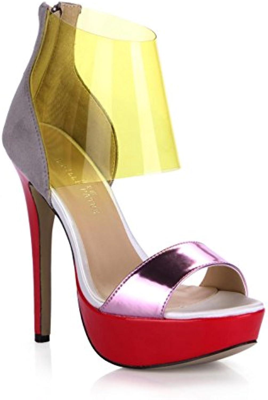 Best 4U® Frauen Sandalen Sommer Spiegel PU Samt Peep Toe Farbverlauf 14 CM High Heels 3 CM Plattformen Gummisohleö