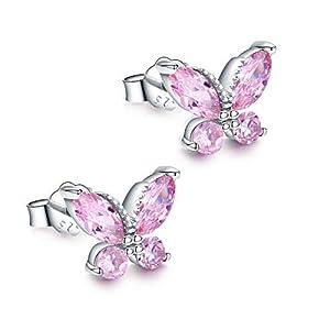 Mädchen Ohrringe Einschulung Armbänder Silber 925-Schmetterlinge Ohrstecker Damen Kinder Zirkonia Geschenk für Frauen