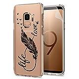 Laixin Coque pour Samsung Galaxy S9 Étui Transparent Silicone Anti Choc Mince Case Housse de Protection + Free [Protecteur d'écran], Plume et Amour