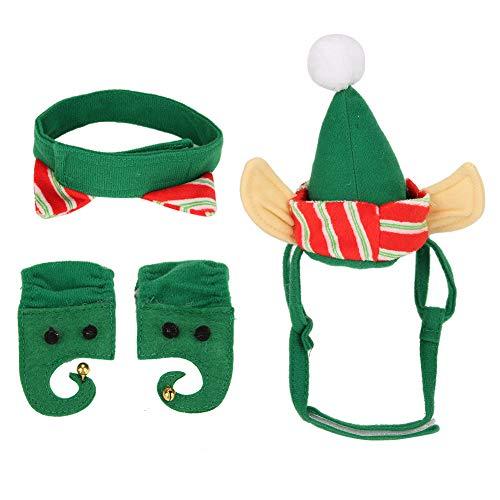 Hundekostüm - 4pcs / set kleine Katze Hund Weihnachten Kostüm schöne Haustier Weihnachten Urlaub dekorative Hut Kragen (Hunde Urlaub Weihnachten Kostüm)