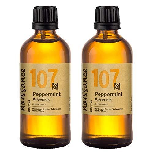 Naissance olio essenziale di menta 200ml (2x100ml) - puro, naturale, cruelty free, vegan e non diluito - usato in aromaterapia, miscele da massaggio e diffusori - aroma dolce e fresca