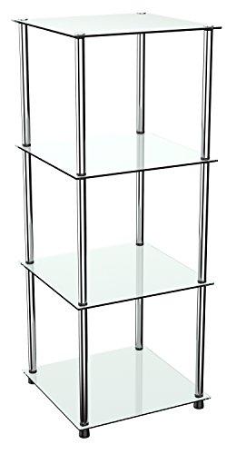 RICOO Standregal Regal Modular WM503-W Design Modern Bücherregal Organizer/Weiß Glas Nicht...