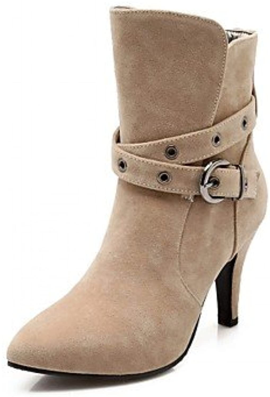 RTRY Zapatos De Mujer Polipiel Primavera Moda Invierno Botas Botas Stiletto Talón Señaló Toe Botines/Botines Hebilla...