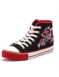 Zapatos De Mujer Encaje Bordado Alto Techo Cabeza Ocio Zapatos Patines Alojamiento,39, Negro
