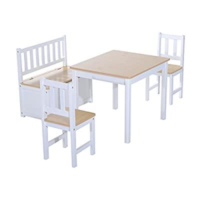 HOMCOM 4PC Wooden Children Table 2 Chairs Toy Storage Bench Seat Seating Stool Kids Furniture Set - inexpensive UK light store.