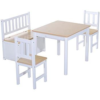 HOMCOM 4PC Wooden Children Table 2 Chairs Toy Storage Bench Seat ...