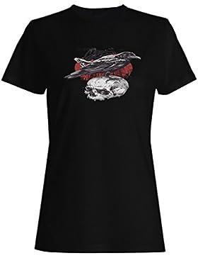 Novedad divertida del pájaro negro del cráneo camiseta de las mujeres -k87f