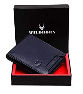 WildHorn® RFID Protected  Genuine High Quality Leather Wallet for Men (BLUE)