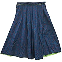 Mogul Interior Womens Retro Skirt Cotton Blue Printed A-line Bohemian Fashion Maxi Skirts L